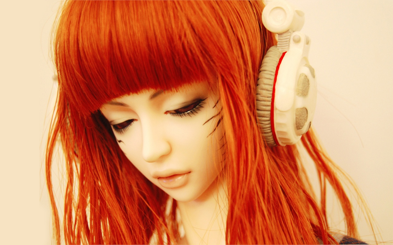 free wallpapers: 3d girl with headphone wallpaper